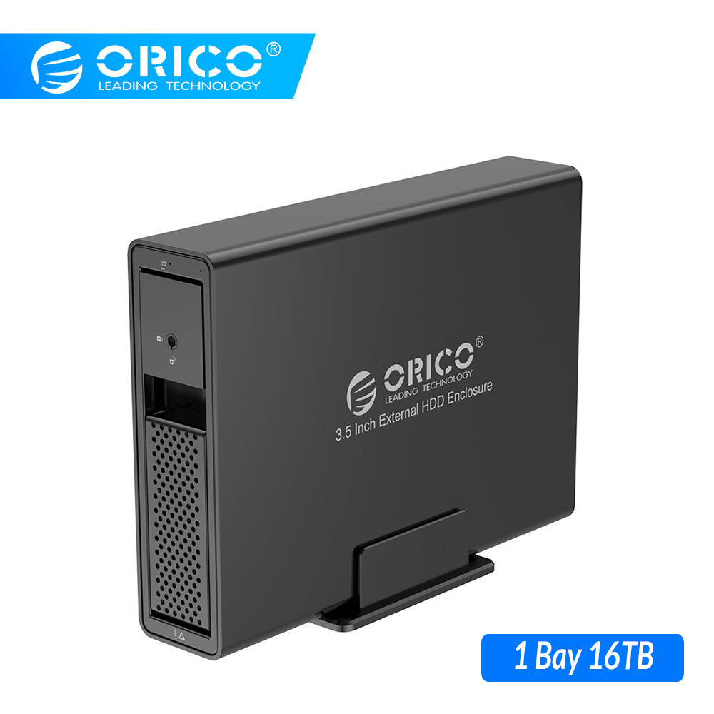 ORICO 3.5'' USB3.0 HDD Docking Station Support 16TB UASP With 24W Power Adaper 1 Bay HDD Case Aluminum SATA To USB 3.0 HDD Case