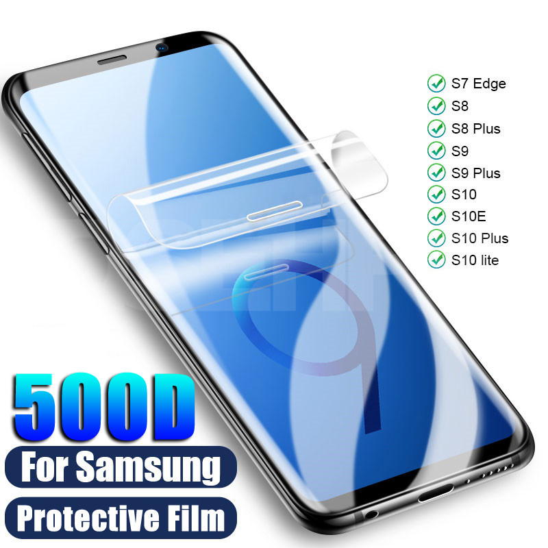 500D Screen Protector For Samsung Galaxy S10 S8 S9 Plus S10e Full Cover Soft Film For Samsung S7 Edge A6 A8 2018 Film Not Glass
