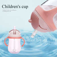 300 Ml Drinking Wide Mouth Feeding Bottle Water With Handles Silicone Straw Training Milk Babies Suction Cups Leakproof