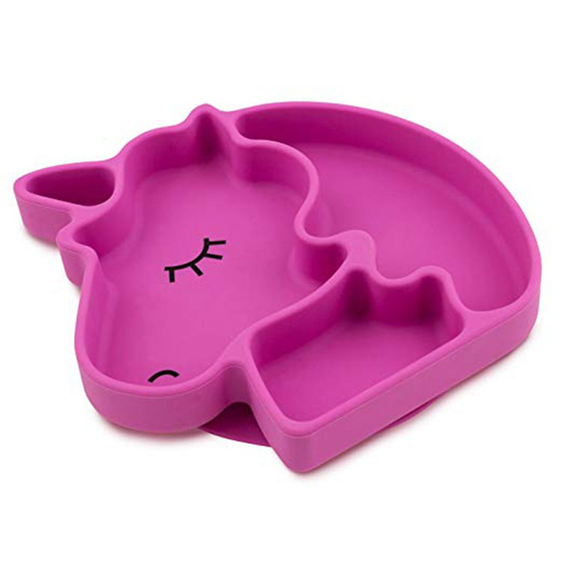 Infant silicone unicorn plate dish with suction non slip divided food feeding container placemat bowl baby