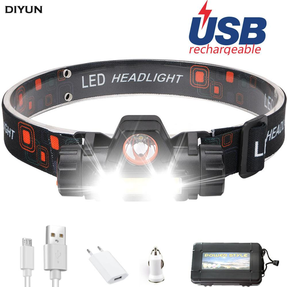 USB Port Frontal Headlamp Flashlight Head Light Lamp Rechargeable 2modes COB +XPE Powerful With Battery Lamp Torches Running