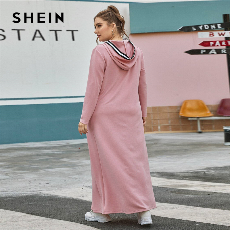 SHEIN Plus Size Pink Striped Trim Hooded Tee Dress Without Bag Women Spring Long Sleeve Plus Casual Straight Maxi Dresses 2