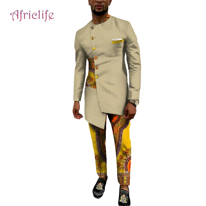 Newest Men Dresses  High Quality Party Wedding Pant Suits Hot Selling African Wax Cottom Men Clothing Set WYN1061