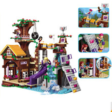 10497 739pcs Legoinglys Friends Adventure Camp Tree House Stephanie Emma Joy Girls 3 Figures Building Block Bricks Toy стоимость