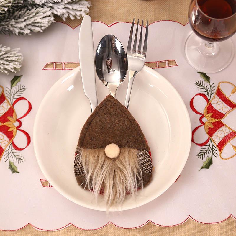 Шляпа Санты, олень, Рождество, Год, карманная вилка, нож, столовые приборы, держатель, сумка для дома, вечерние украшения стола, ужина, столовые приборы 62253 - Цвет: 2PD-63007-2