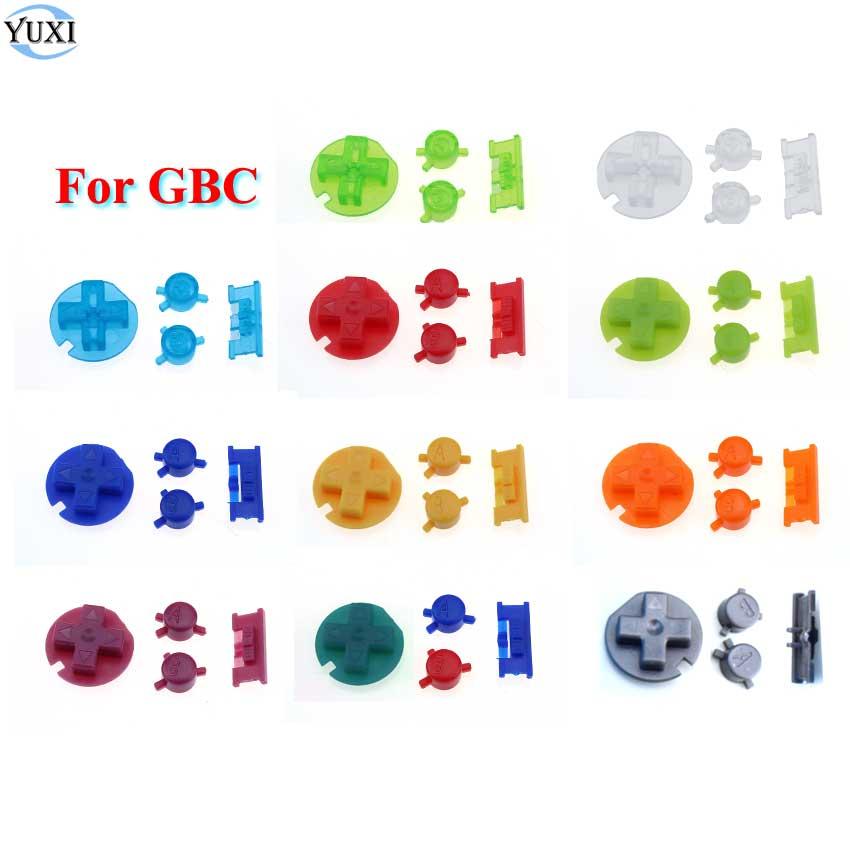 YuXi Plastic Power ON OFF D Pads A B Buttons Keypads For Gameboy Color For GBC Colorful Buttons