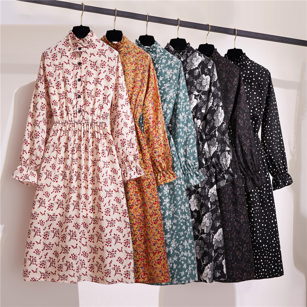 Sexy Spring Summer Dress Women Floral Autumn Long Sleeve Elastic Waist Button Stand Collar Print Vintage Party Dresses Vestidos