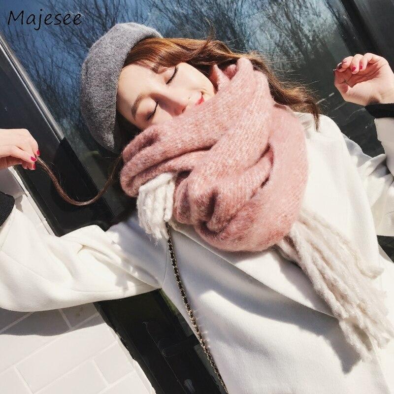Женские шарфы с кисточками, одноцветные, длинные, зимние, вязаные, женские, s, шарфы, шаль, подходит ко всему, высокое качество, корейский