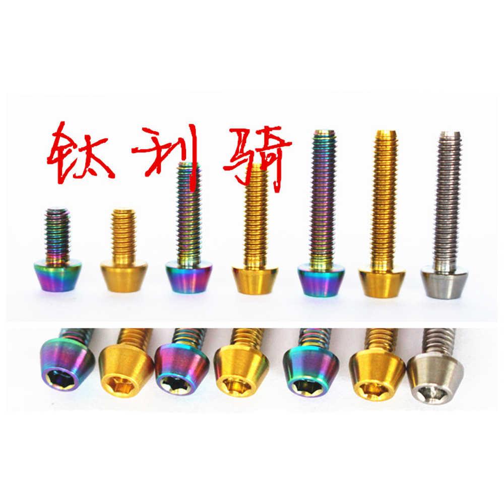 M4 X 8 Mm 15 Mm 20 Mm Ti Rainbow Golden GR5 Titanium Cone Kepala Sekrup Baut untuk Belakang derailleur