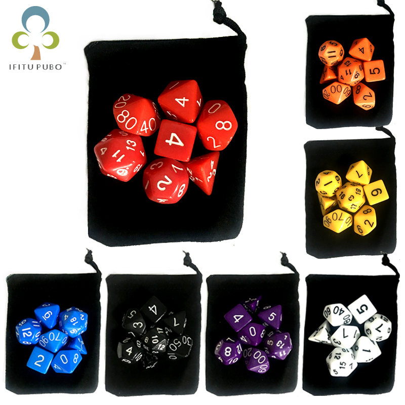 7 pc/lote jogo de dados com saco de dados de veludo d4, d6, d8, d10, d10 %, d12, d20 acessórios coloridos para o jogo de tabuleiro, dnd, rpg gyh