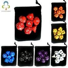 7 шт./лот набор костей с бархатной сумкой для игральных костей D4,D6,D8,D10,D10 %,D12,D20 красочные аксессуары для настольных игр, DnD, ролевая игра GYH