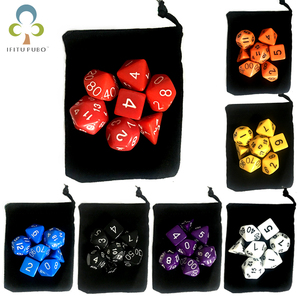 7pc/lot Dice Set with Velvet Dice Bag D4,D6,D8,D10,D10%,D12,D20 Colorful Accessories for Board Game,DnD, RPG GYH(China)