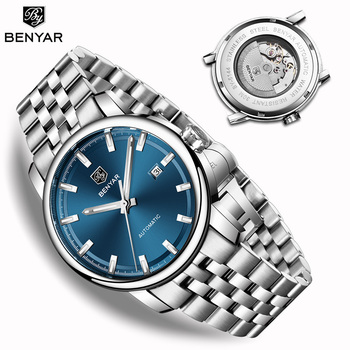 New BENYAR Men's Mechanical Watches Automatic Mens watches Top Brand Luxury watch men WristWatch Military Relogio Masculino 2019 winner official military automatic watch men top brand luxury 3d skeleton mechanical watches metal strap chic relogio masculino