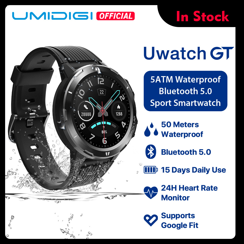UMIDIGI Uwatch GT Smart Watch 5ATM Waterproof All-Day Heart Rate Activity Tracking Sleep Monitor Ultra-Long Battery Android iOS