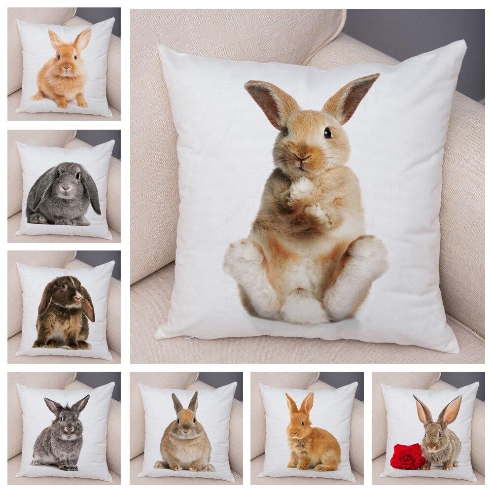 Lovely Rabbit Pillowcase for Home Sofa Children Room Decor Cute Pet Animal Print Cojines Cushion Cover Soft Plush Pillow Case