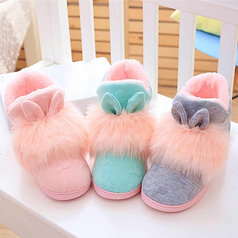 Kış sıcak tavşan ayakkabı ev sıcak zemin çizmeler kürk olmayan-kayma çizmeler kadın bayanlar yumuşak pamuklu ayakkabılar