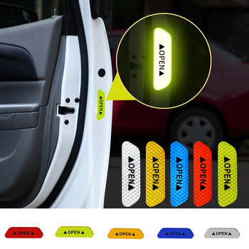 4PCS/Set Car Door Stickers Warning Mark Reflective Tape Auto Exterior Accessories Open Sign Safety Reflective Strip image