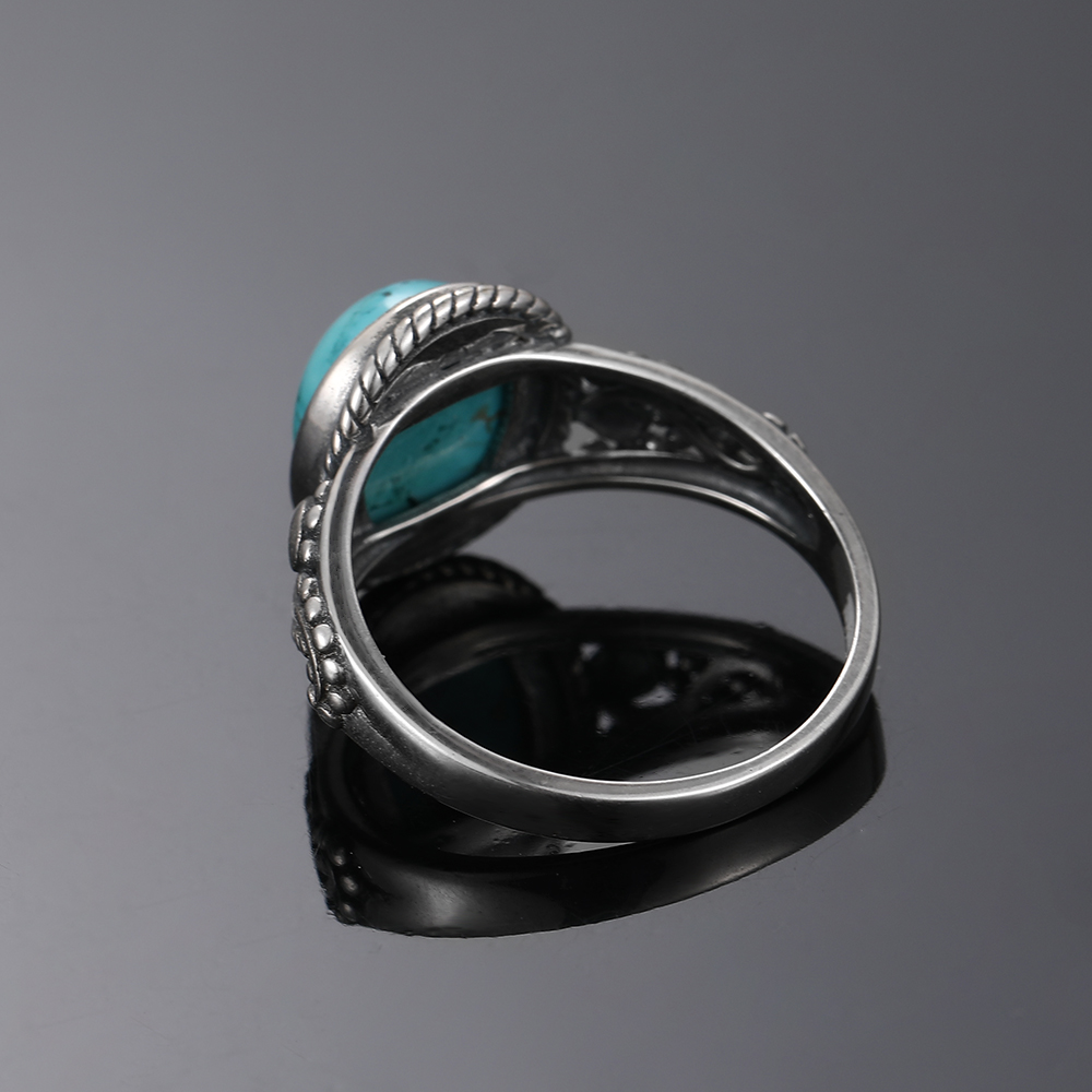 New Fashion Oval High Quality Natural Turquoise Rings for Men Women 925 Silver Trendy Jewelry Wholesale Dropshiping Gifts