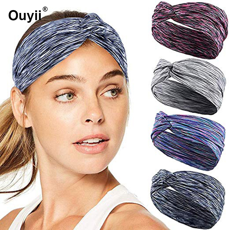 New Sweat-Absorbent Sports Hair Band For Sporting Running Fitness Hair Tape Fashion Non-Slip Sport Yoga Headbands For Women Men