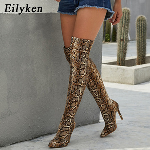 Image 2 - Eilyken เสือดาวงูยาวรองเท้าผู้หญิงส้นสูง BOOT Pointed Toe เซ็กซี่คลับรองเท้าต้นขาสูงกว่า รองเท้าบู๊ตเข่า