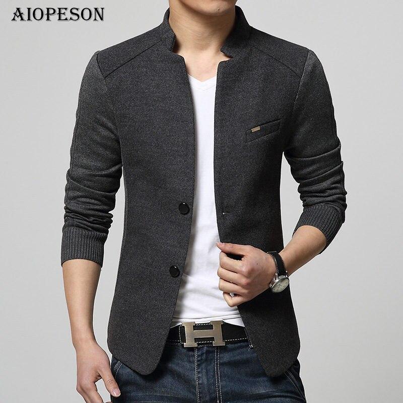 AIOPESON 新メンズブレザーパッチワーク男性トップの品質赤ブレザースリムフィットウール生き抜くコート衣装オムブレザー男性