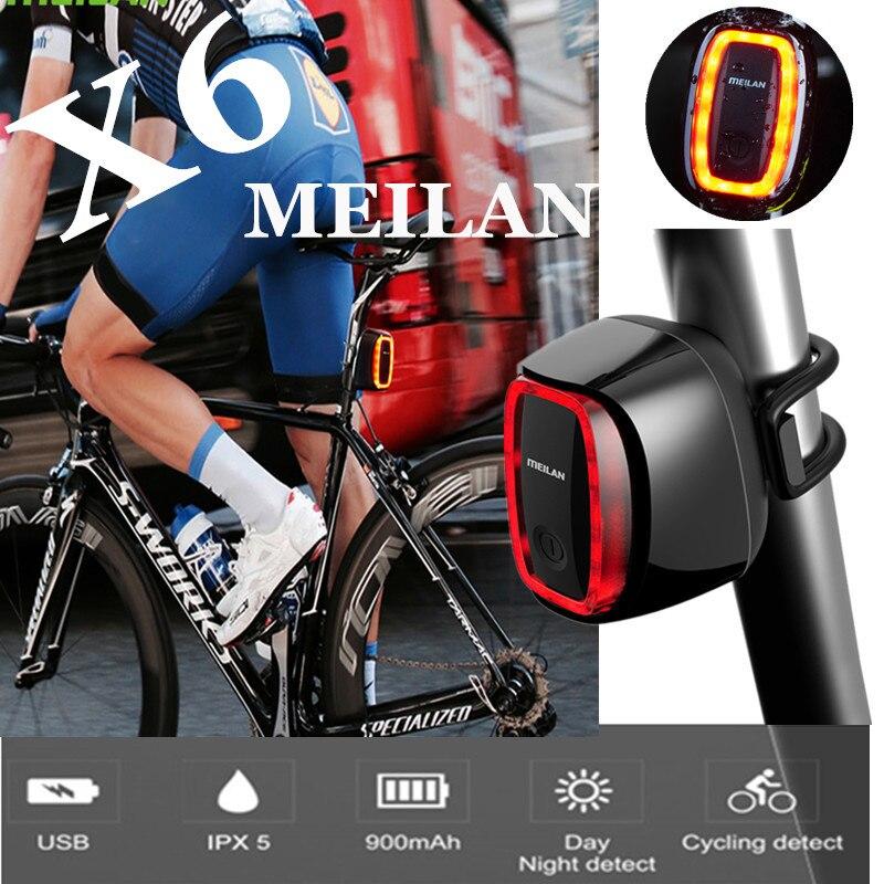 Новый Meilan X6 велосипедный светильник беспроводной задний лазерный светильник USB Перезаряжаемый велосипедный задний светодиодный светильни...