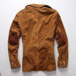 Image 3 - 2019 ใหม่ผู้ชาย Blazers Suede cowhide เสื้อแฟชั่น Cowskin Blazer แจ็คเก็ตจัดส่งฟรี