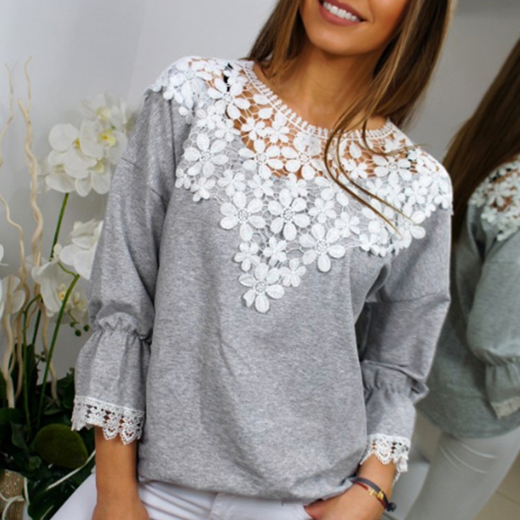 Blouse Women's Lace Collar Casual Sleeveless Blouse Shirt Autumn Long Sleeve Solid O-neck Tops Blouse 2020 New Рубашка Chemise