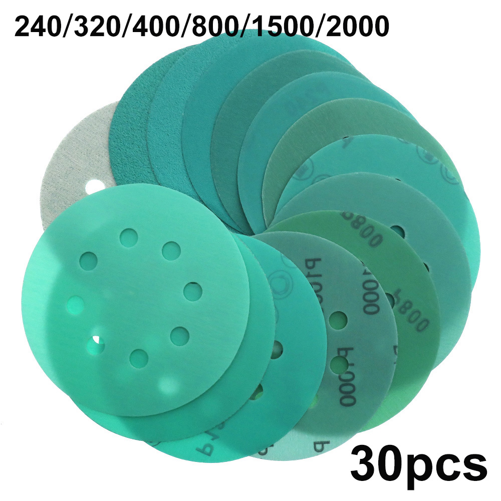 30PCS 5in 125mm 8Hole Sandpaper 240 / 320 / 400 / 800 / 1500 / 2000 Grit Hook & Loop Green Film Sanding Disc