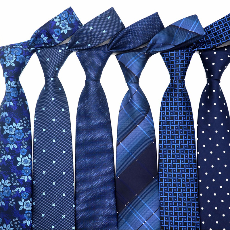 XKB 8CM Classic 100% Silk Men's Tie Fashion Neckties Blues Navy Blue Ties Geometric Men Cravat Business Wedding Party Gravatas