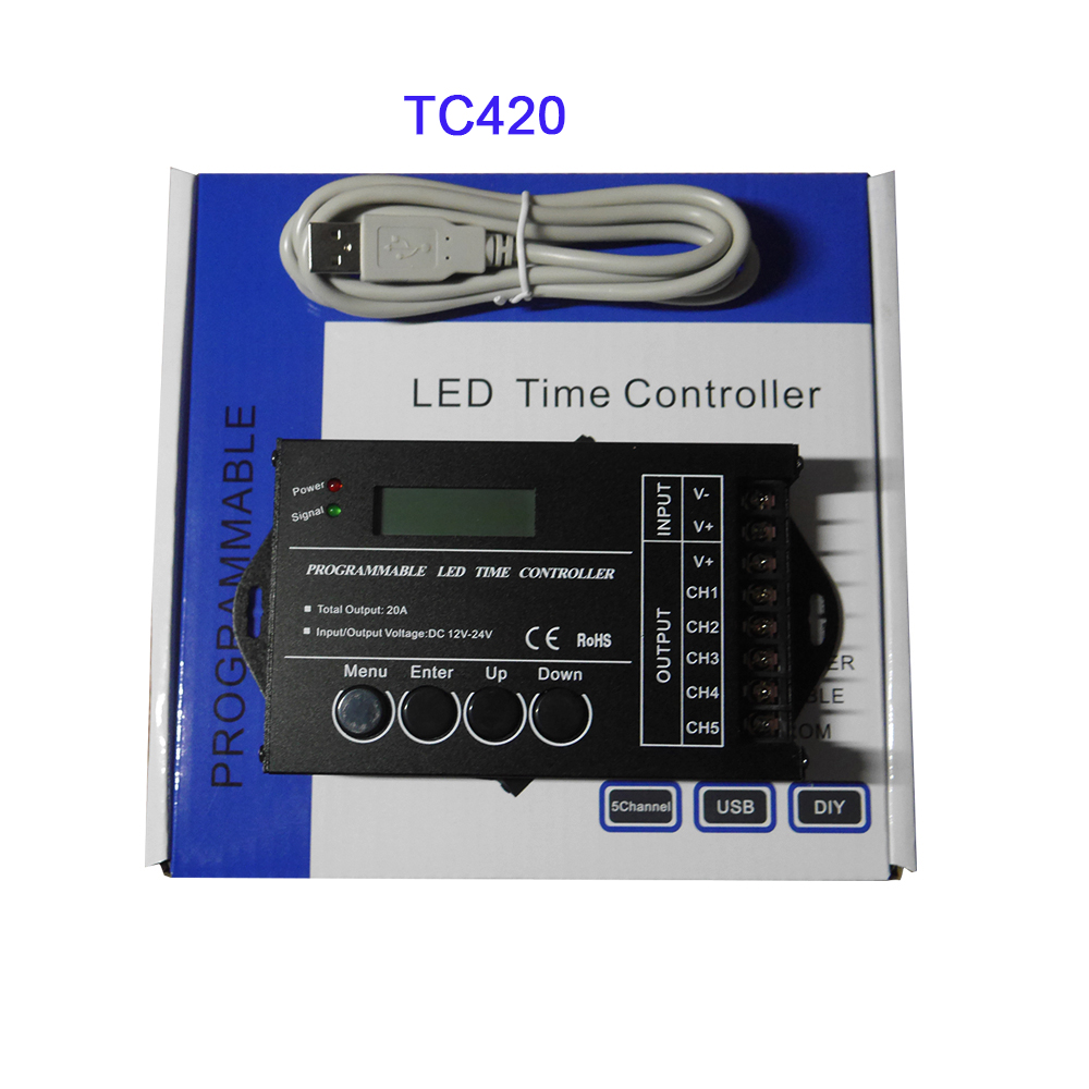 Free Shipping TC420/TC421 RGB Time Programable LED Controller DC12V/24V 5Channel Total Output 20A Common Anode Programmable