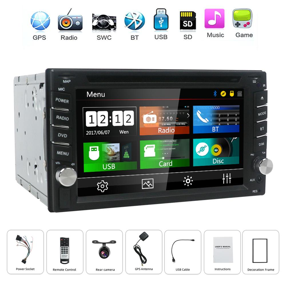 2 din universal Auto Radio Auto DVD Player GPS Navigation In dash 2din Auto PC Stereo Head <font><b>Unit</b></font> video Freies karte kamera image