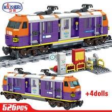 Cidade criador trem high-tech ferroviário pista blocos de construção natal malásia trem figuras tijolos brinquedos educativos para crianças