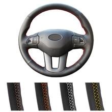 Capa de volante de carro personalizada diy para kia sportage 3 2011-2014 kia ceed cee cee d 2010-2012 envoltório de direção de couro automático