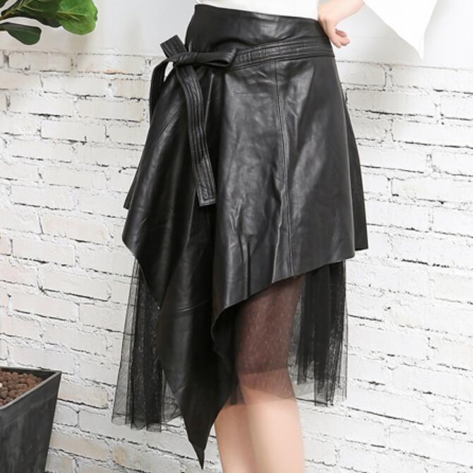 Fashion Elegant Genuine Leather Skirts Women High Waist Skirts Female Black Real Sheepskin Patchwork Mesh A Line Ladies Skirts