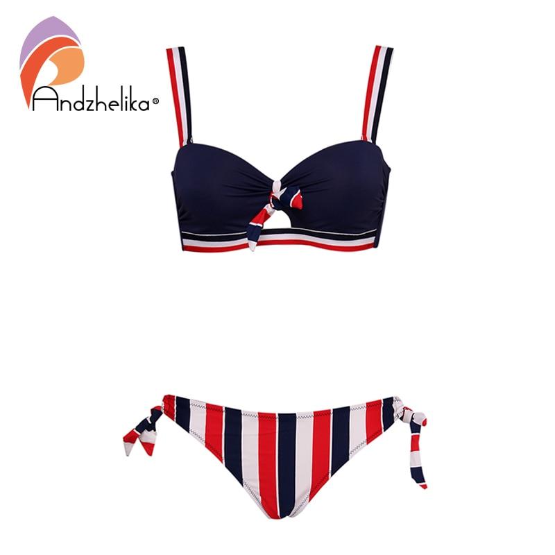 Andzhelika Bikinis Women Push Up Bikini Sets Sexy Bow-knot Striped Swimsuit Two Pieces Swimwear Women 2020 Beach Bathing Suits