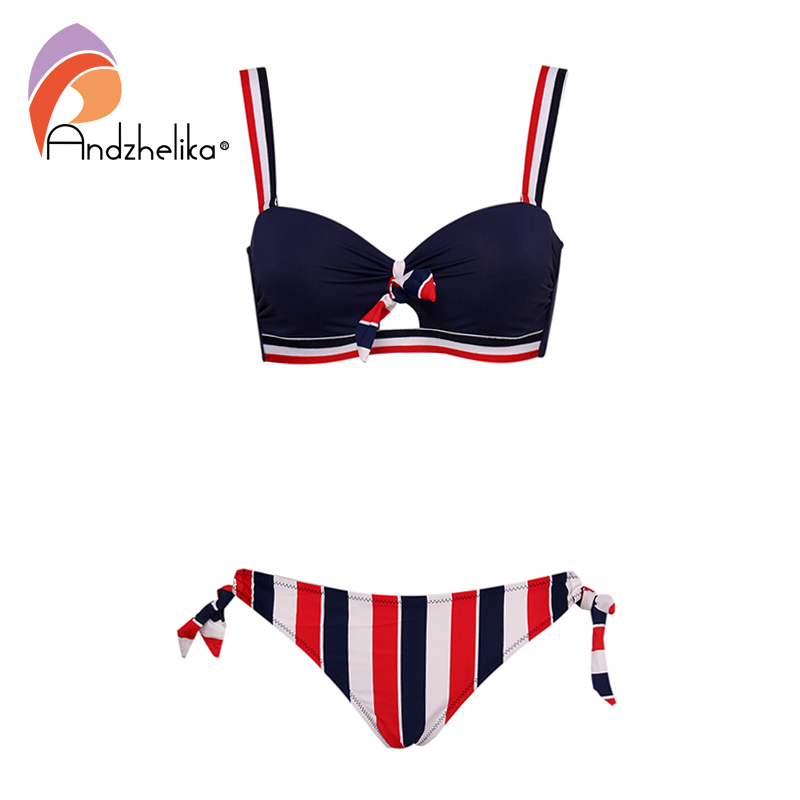 Andzhelika <font><b>Bikinis</b></font> Women Push Up <font><b>Bikini</b></font> <font><b>Sets</b></font> <font><b>Sexy</b></font> Bow-knot Striped Swimsuit Two Pieces Swimwear Women 2020 Beach Bathing Suits image