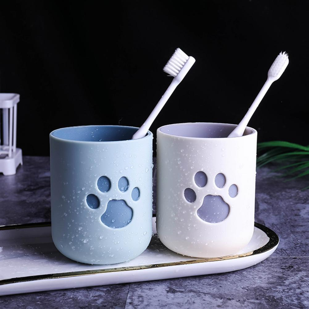 Toothbrush Tumbler Multifunctional Reusable TPR Cats Paw Pattern Toothbrush Cup for Bathroom