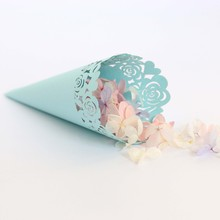 50pcs Rose Paper Flower Packing Cup Hollow Love Lace Cake Tube  for Home Decoration Party Supplies