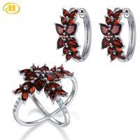 Hutang Garnet 925 Silver Cluster Earrings Ring Jewelry Sets Genuine Red Gemstone Sterling Silver Fine Elegant Jewelry for Women