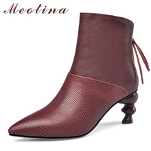 Meotina Autumn Ankle Boots Women Natural Genuine Leather Strange Style High Heel Short Boots Pointed Toe Shoes Female Size 34-39 цены онлайн