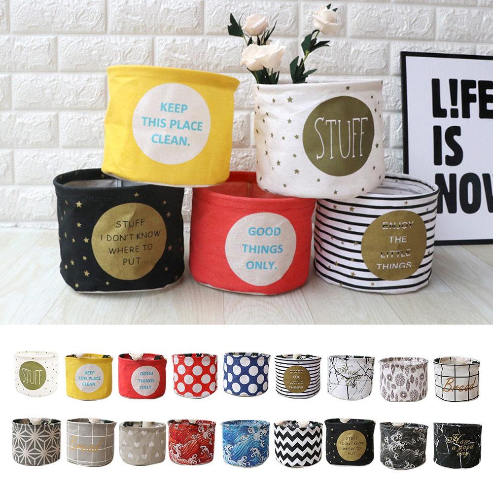 Small Laundry Basket For Toy Cartoon Storage Barrel Dirty Clothes Sundries Household Organizers Storage Basket Folding Bag