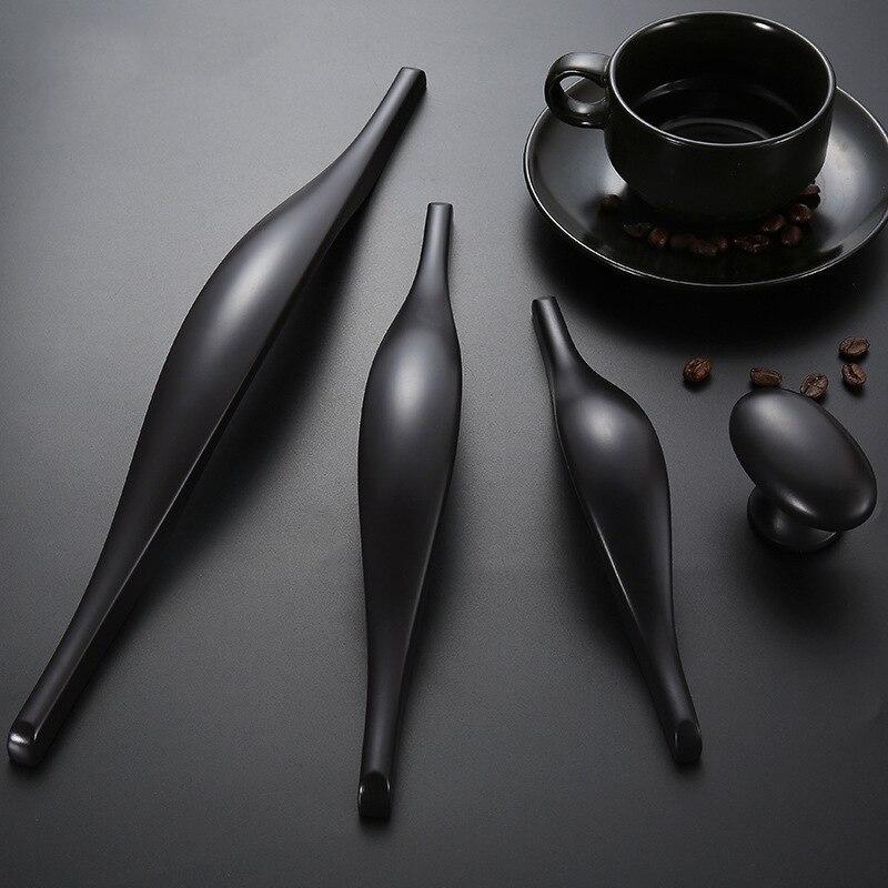 Американский цинковый сплав ручка черного цвета для выдвижного ящика шкафа гардероба дверную ручку современный минималист мебельная фурн...