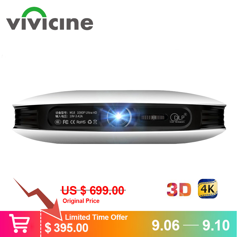 Vivicine 1080p 3D 4K Projetor, android WIFI USB HDMI Full HD Mini PC Game Home Theater Cinema Beamer Proyector 12000 mAh Da Bateria