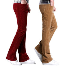 Flared-Pants Boot-Cut Corduroy Black Trousers Business Elasticity White Casual Slightly