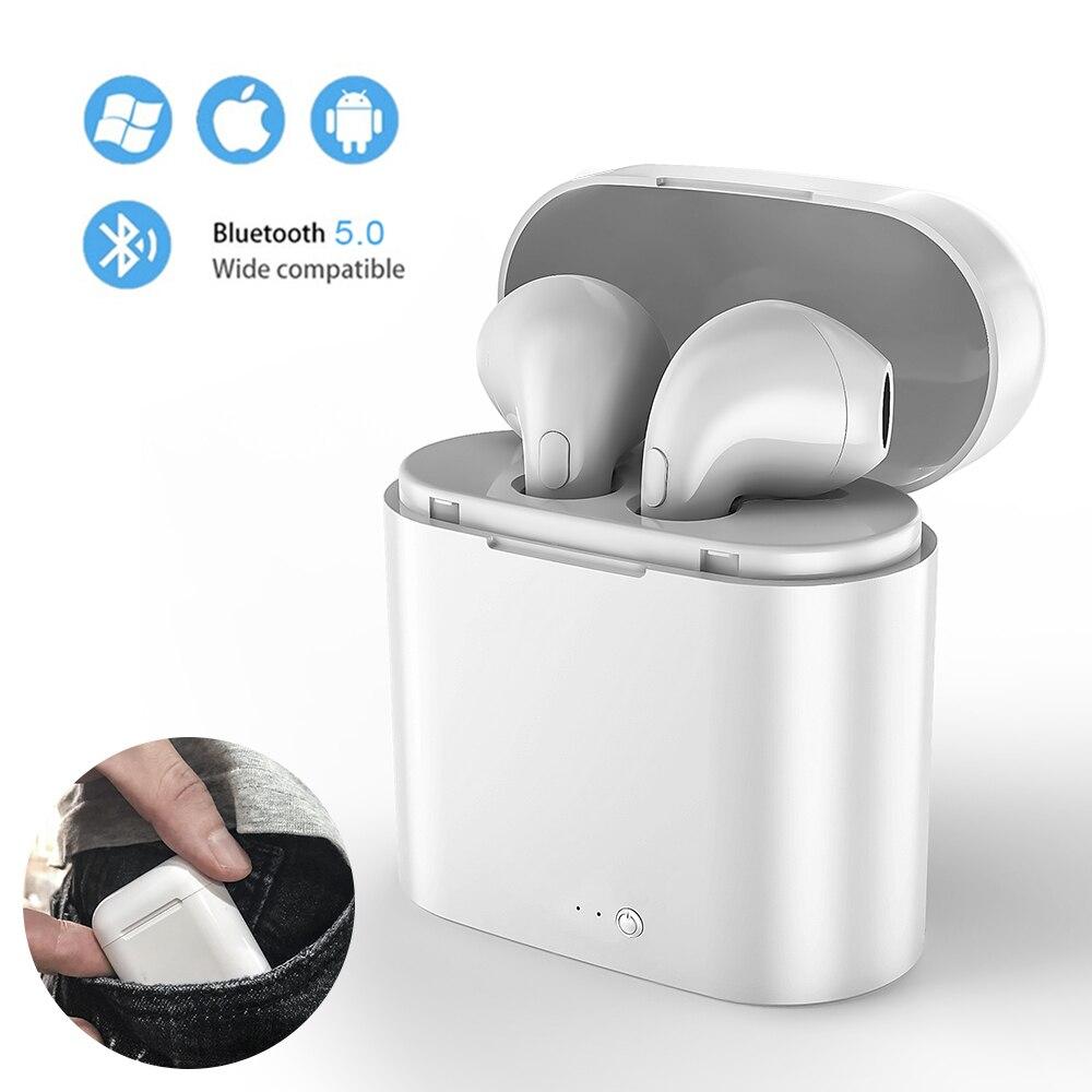 I7s TWS беспроводные наушники 3D зарядка стерео Iphone с микрофоном Спорт Bluetooth гарнитура с мини-наушники коробка для Android