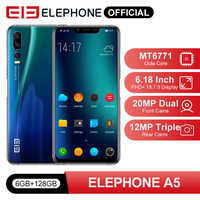 ELEPHONE A5 6GB 128GB Mobile Phone MTK6771 Octa Core 6.18'' FHD+ Screen 20MP Front Face Unlock 4000mah 4G Android 8.1 Smartphone