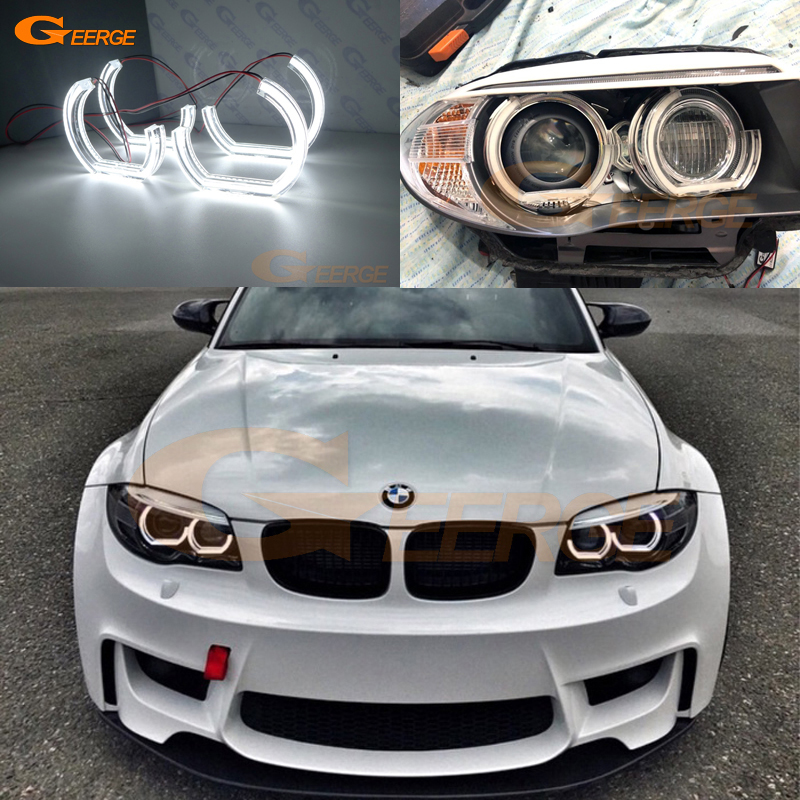 For BMW 1 Series E82 E88 E87 E81 2006-2013 Xenon Headlight Excellent Ultra Bright DTM M4 Style Led Angel Eyes Kit