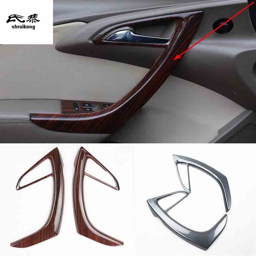 2pcs/lot ABS Carbon Fiber Grain Or Wooden Front Interior Door Armrest Decoration Cover For 2009-2014 OPEL ASTRA J P10