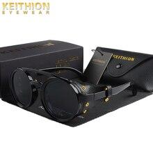 KEITHION moda Steampunk güneş gözlüğü yuvarlak Sunglass marka tasarımcısı kadın erkek Vintage güneş gözlüğü UV400 Shades gözlük
